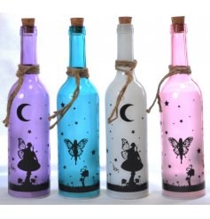 LED bottle featuring fairy dream silhouette and rope tie