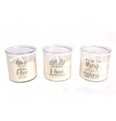 An assortment of 3 family inspired script candle pots, each finished with a little added bow detailing