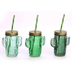 Add a touch of the wilderness to your summer bbqs with these quirky cacti themed drinking jars