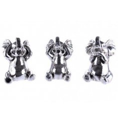 Trio of Elephants  this sweet set of 3 silver toned elephants will add a cute touch to any space