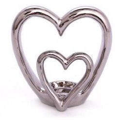 A double heart tealight holder