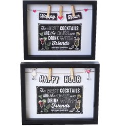 An assortment of 2 Cocktail themed wooden frames
