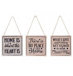 Add that cozy homely feel to any space with these natural toned wooden wall plaques