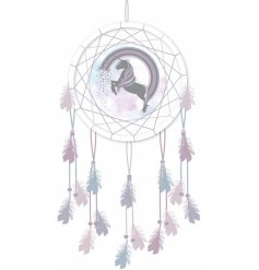 A magical inspired hanging dream catcher complete with a unicorn themed centre