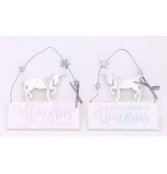 An assortment of 2 unicorn hanging plaque decorations