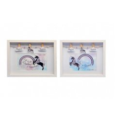 A magical assortment of 2 photo frames, each finished with a unicorn inspired look and decorative pegs