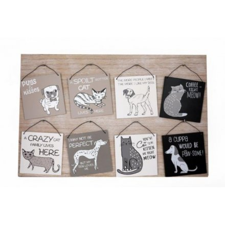 Wooden Pet Plaques, 8 Assorted