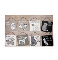 A stylish assortment of grey, black and white themed hanging plaques. Finished with a quirky pet pun