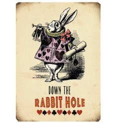 An extra large metal sign with an Alice in Wonderland themed print
