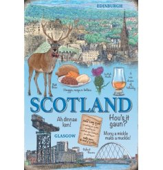 Show all the best bits of Scotland with this quirky metal hanging sign
