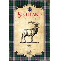 A vintage themed metal sign with a traditional stag and Scottish boarder