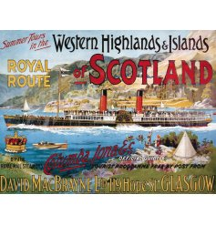 A vintage themed metal sign with a detailed picture and splash of colour