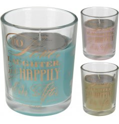 An assortment of 3 scented candles in glass pots