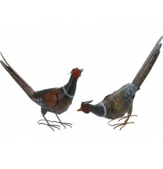 Pheasant Garden Decoration 2ass  Place these stylish metal figures in your garden for a country charm look