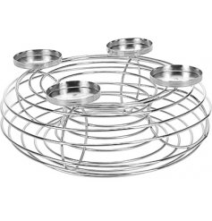 A silver wire circular tealight holdee