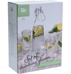 A five piece glass drinks set