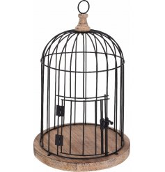A large black decorative birdcage