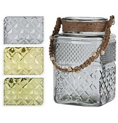 An assortment of 3 square glass candle lanterns with rope handles