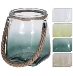 An assortment of 4 glass lanterns with rope handles