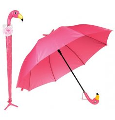 A freestanding umbrella with a quirky flamingo look
