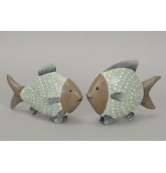 2 beautifully simple wooden fish, finished in a distressed spotted style