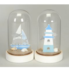 A nautical inspired assortment of wooden beach dome decorations