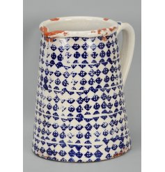 Finished with a glazed look, this blue diamond pattern range will bring a vintage feel to any home or garden