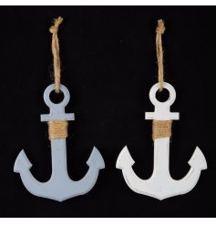 2 beautifully simple wooden anchors finished in a distressed style