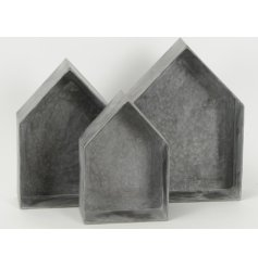 Metal Wall shelves S/3  A rustic themed set of 3 sized wall shelves in a house shape