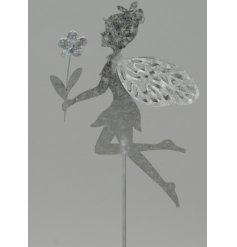 A dainty little posed fairy garden stake