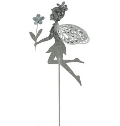 A dainty little posed fairy garden stake