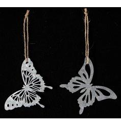 Vintage inspired hanging metal butterflies