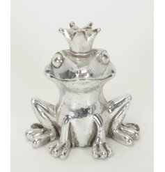 A sweet silver resin frog complete with a crown of royalty
