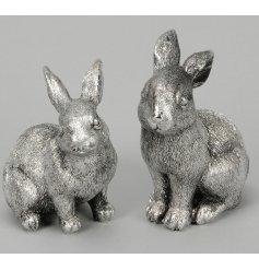 A sweet assortment of silver resin rabbit figures