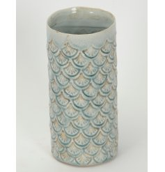 A smooth finished ceramic vase with detailed pattern