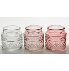Bring a chic touch to any home or display with these flamingo pink themed glass pots