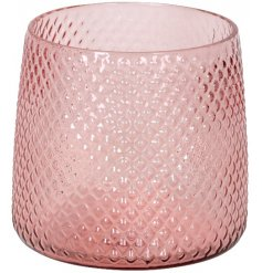 A stylish new line of pink toned glasses, finished with a diamond ridged pattern