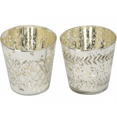 Add a distressed chic touch to any home with these stylish mottle effect tlight holders