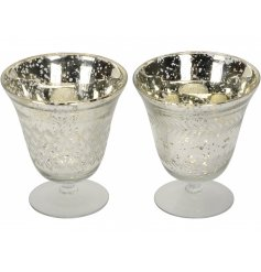 Bring a shabby chic feel to any home with these white and gold mottle effect tlight holders