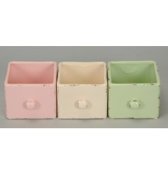 A stylishly chic assortment of coloured ceramic draws