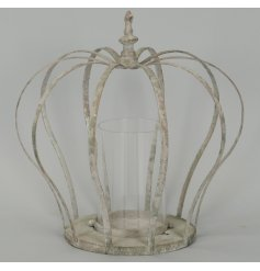 A sweet chic themed metal lantern in the formation of a crown