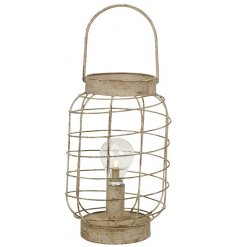 A stylishly vintage inspired metal lantern with an LED bulb