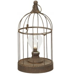 A stylishly vintage inspired metal bird cage lantern with an LED bulb