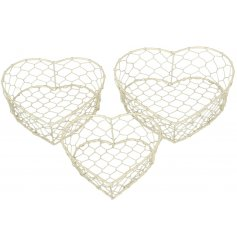A stylish set of assorted sized baskets in a heart form