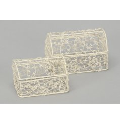 A shabby chic inspired set of wire chests