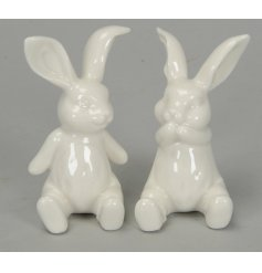 Bring an simple yet elegant touch to any space of the home with these chic ceramic rabbits