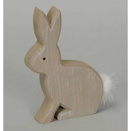 Wooden Hare with Pompom Tail
