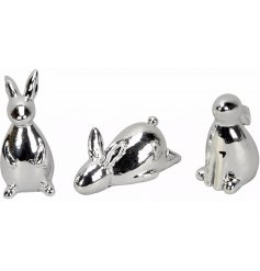 Bring an simple yet elegant touch to any space of the home with these chic silvered rabbits