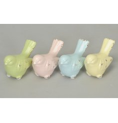 Small decorative birdies in a pastel tone assortment, place in any garden for a fun easter egg hunt!