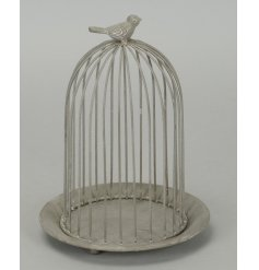 A chic inspired decorative tlight plate, complete with a caged top for an added rustic look